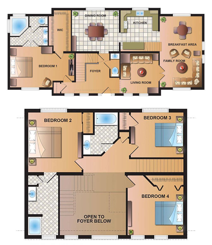 4 Bedroom Modular Home Plans: 4 Bedroom 2 Story Modular Home Floor Plans